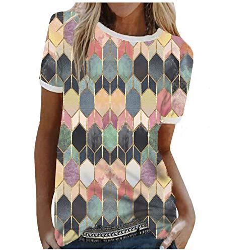 LAIYIFA Verano Señoras Camisetas Gema Costura O-Cuello Jersey de Manga Corta Mujeres Tops Sueltos Sudaderas De Gran Tamaño, Multicolor, M