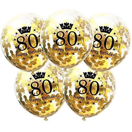 DIWULI, 5 Stück Geburtstags Luftballons, Zahl 80, Happy Birthday, Konfetti Sterne Latex-Ballons Gold, Zahlen-Ballons, Latex-Luftballons, Geburtstags-Deko Ballon-Set 80. Geburtstag, Party, Dekoration