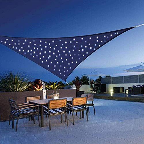 LUKUCEA Voile d'ombrage Imperméable Triangulaire 3 x 3 x 3m Résistant à l'eau Protection Rayons UV avec Chaîne Lumineuse LED Intégrée pour Terrasse Camping Extérieur Jardin,Big Red