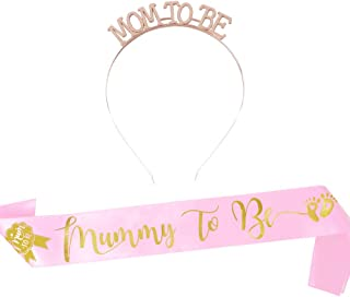 180CM Écharpe Rose Mummy to be Future Maman Couronne Diadème Mum to BE Photo Accessoires Bande Ruban en Polyester Décorati...