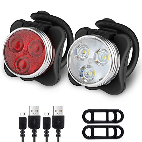 Ascher Rechargeable LED Bike Lights Set - Headlight Taillight Combinations...