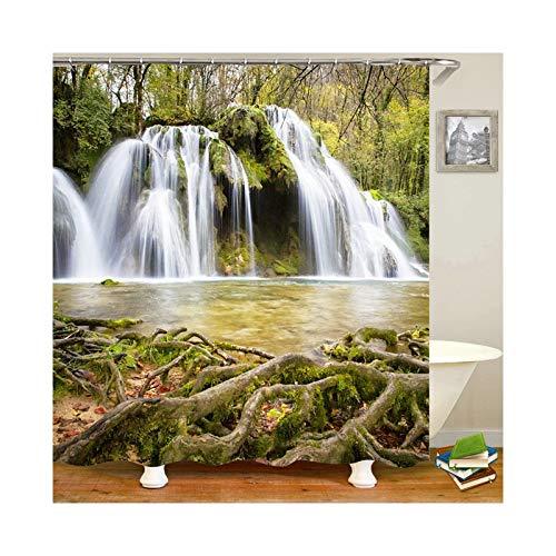 Amody Duschvorhang Stoff Wasserdicht Waldfälle Größe 150x200CM Duschvorhang Stoff Antischimmel Badvorhänge Fenster Grün