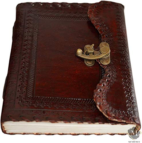 Vintage Handmade Leather Bound Journal with Lock Genuine Brown Antique Old Personal Diary Notebook Journal Men Women Hand Embossed
