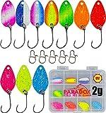 Paradox Fishing Forellen Spoon Set 10 Spoons 2g mit Spoon Box und 5 Snaps Forellenköder Set zum Forellen Angeln Forellenteig Forellen Köder - Spoons Forelle (10x 2,0g)