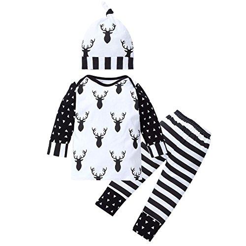 CHIC-CHIC Baby Winter Sweatshirt Bekleidungssets Baumwolle Outfits Neugeborene Pullover langärmelig T-Shirt Hose+ Mütze