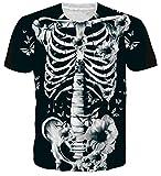 NEWISTAR Teen Boy Girl Halloween Tees Shirts Costume Butterfly Rose Skeleton Bones Xray Printed Shirt