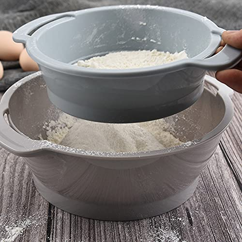 ZS ZHISHANG 4pcs Flour Sieve Mixing Bowl Set Plastic Nesting Bowls Stackable Fine Mesh Strainer with Dough Scraper Egg White Separator Cooking Baking Tool For Kitchen Cooking Baking Cake Bread