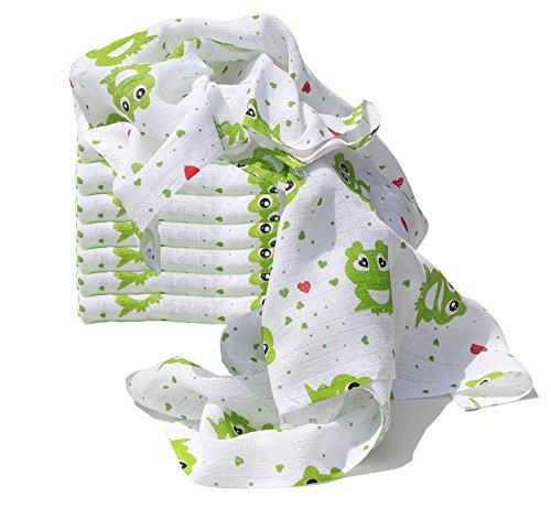 Clevere Kids Mulltücher Set 10 Stück bunt bedruckt Öko-Tex zertifiziert doppelt gewebt (Froschkönig)