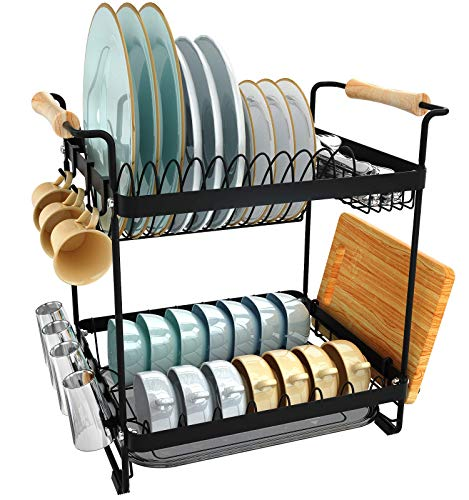 Silver Over The Sink Dish Drying Rack JZBRAIN 2-Tier Large Dish Rack Stainless Steel with Utensil Holder /& Hooks for Kitchen Countertop - Sink Width  31 inches