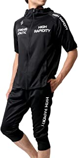 [ソレイルドール] ランニングウェア ジャージ メンズ 上下セット 半袖 パーカー ショートパンツ