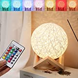 LED Globe Rattan Ball Lamp,Globe lamp,Bedroom Atmosphere Light,Children's Night Light,LED Projector Night Lamps with Remote【5.9 inch 】