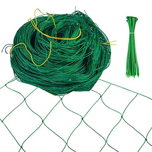 Hywean Ranknetz für Gurken 1.8 x 5 m mit 50 Kabelbindern, Rankhilfen für Kletterpflanzen mit Großer Maschenweite, Ranknetz Grün für Tomaten Blume und Anderen Gemüsepflanzen