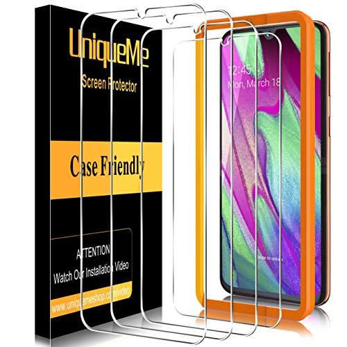 UniqueMe [4 Pezzi] Pellicola Protettiva compatibile con Samsung Galaxy A40 Vetro Temperato, [Easy Installation Frame] HD 9H Ultra Resistente [Bubble-Free]