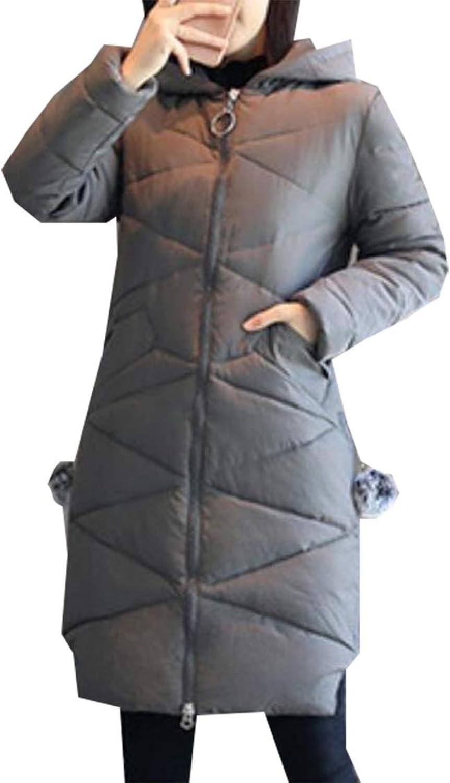 Gocgt Women's Long Sleeve Thickened Fur Long Hooded Down Jacket