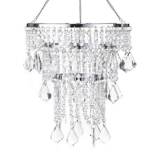 SUNLI HOUSE Modern Mini Crystal Beaded Fixture Pendant Ceiling Chandelier Light for Wedding Bedroom Hallway Bathroom H11.4''XD8.6''