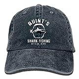 YISHOW Quint's Shark Fishing Washed Retro Adjustable Denim Hats Baseball Cap for Adult Unisex (Navy)