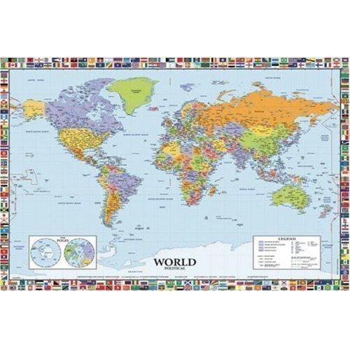 Politische Weltkarte mit Flaggen IND Plakat laminiertes Poster - (91.5 X 61cm)