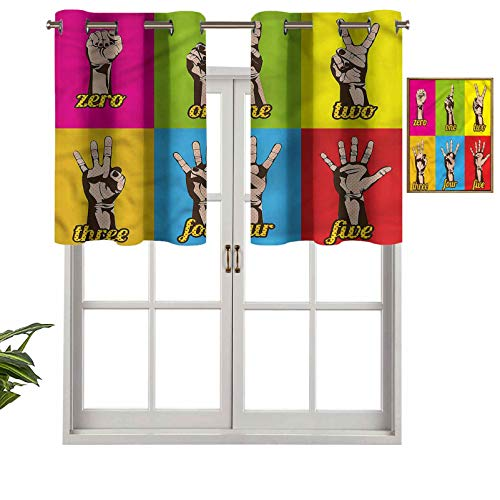 Hiiiman Panel térmico para ventana con aislamiento extra corto, con manecillas de números de colores, juego de 2, paneles opacos decorativos para el hogar de 137 x 60 cm