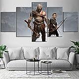 HIMFL 5 Panel HD-Druck God of War Kratos und Atreus Game Poster Dekorativ Gemälde für Wohnzimmer Wand Dekoration,A,30×40×2+30×60×2+30×80×1
