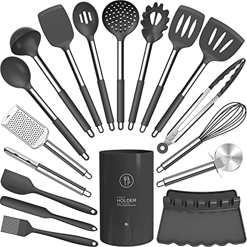 Silicone Cooking Utensils Set - Heat Resistant Kitchen Utensils,Turner Tongs,Spatula,Spoon,Brush,Whisk,Pizza Cutter,Graters.Gadgets.Gray Cooking Utensil for Nonstick Cookware.Dishwasher Safe.