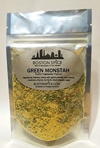 Boston Spice Green Monstah Monster Gourmet Herbal Seasoning Blend For Popcorn Poultry Roasted Vegetables Potato Bakes Grilled Smoker Chicken Turkey Dips (Approx. 1/4 Cup of Spice)