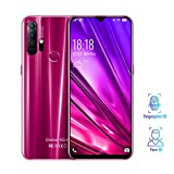 NDY Smartphone 4G-Netz, Handys SIM-Free Card, Gesichtsfingerabdruckerkennung 5000mAh Multi-Sprache, 6,26-Zoll-HD-Display-Dewdrop 3GB RAM + 64GB ROM 5MP Front + 8MP hintere Kamera (Color : Red)