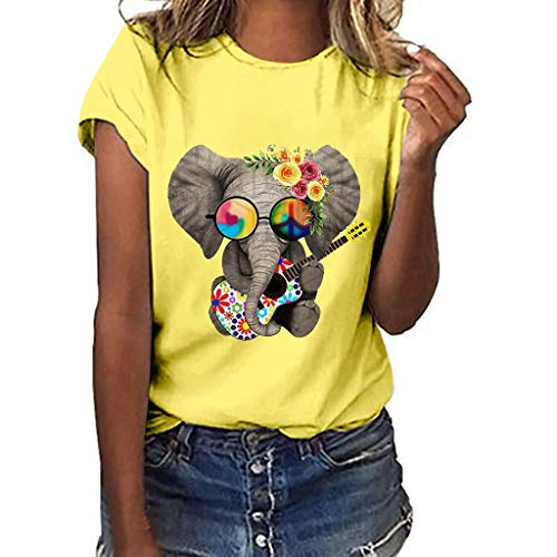 Lowest Prices! Litetao XL Yellow 411362 (Women's Short Sleeve V-Neck Shirts Loose Casual Tee T-Shirt...