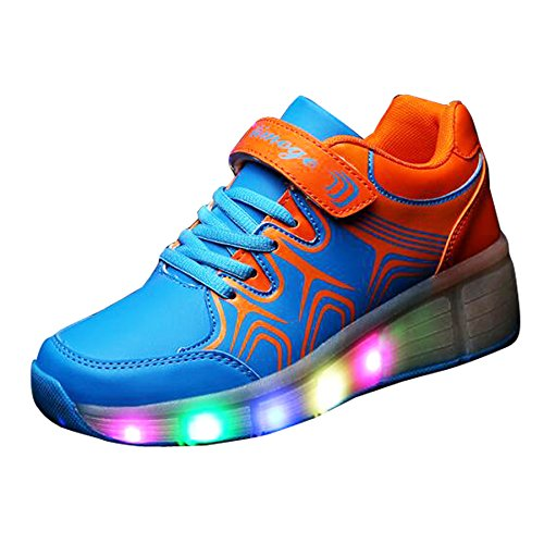 Christmas Kid Youth Girl Boy Light Up Wheels Roller Shoes Skates Sneakers Birthday Gift Blue Orange
