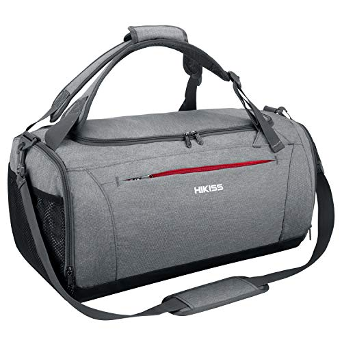 HIKISS Sports Gym Bag Waterproof Duffle Bag 45L with Wet Pocket & Shoes Compartment for Men and Women
