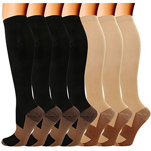 7 Pairs Copper Compression Socks for Men Women 20-30 mmHg Knee High Stockings