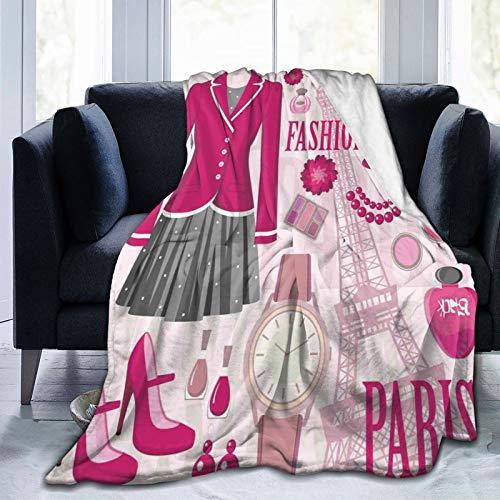 PANILUR Flanell Fleece Soft Throw Decke,Modethema in Paris mit Outfits Kleid Uhr Geldbörse Parfüm Parisienne Landmark Bild,für Sofas Sofa Stühle Couch Leicht,warm und gemütlich 153x127cm