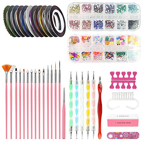 Nail Art Kit, WOVTE 37-teiliges Nail Design Tool mit 15-teiligen Nail Art Brushes, Nail Dotting Tool, Nagelfolie, Nail Striping Tapes, Strasskristallen und Nail File Kit für Nägel