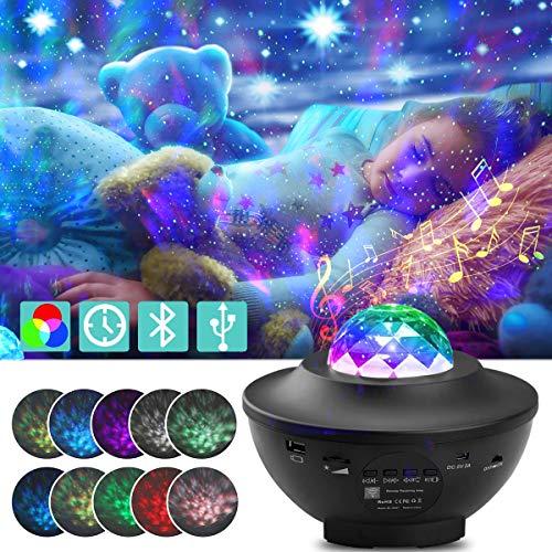 vitutech LED Projektor Sternenhimmel Lampe, Bluetooth Musik USB Sternenprojektor, Nachtlichtprojektor mit Timer und Fernbedienung Baby Sterne Lampe Perfekt für Party Weihnachten Ostern Halloween