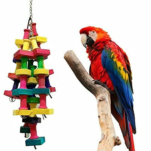 Juguete masticable para pájaros de loro, juguete de madera para masticar loro, jaula de madera grande, para pájaros, guacamayo, gris africano, Amazon Cockatoo Ect
