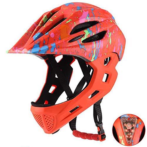 Yissma Casco de bicicleta para niños, ligero, casco de bicicleta BMX, casco protector de seguridad deportivo con luz trasera para niños y niñas
