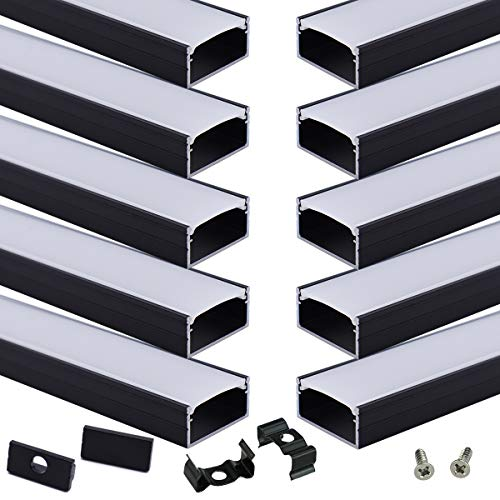 Muzata 10Pack 3.3FT/1M Black LED Channel System with Milky White Cover,16mm Wide Aluminum Extrusion Profile Track Diffuser for Tape Strip Light Philips Hue Plus.U Shape U102 1M BW, LU2 LP1