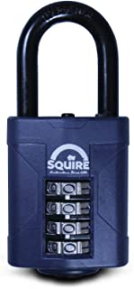 SQUIRE Combination Padlock. Patented Design Weatherproof Hardened Steel Shackle Recodable Padlock and Shackle Lengths. (4 Wheel - 50mm Long Shackle (1.5