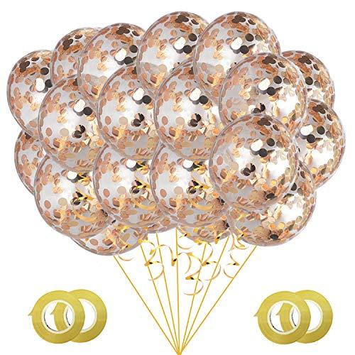 Gxhong Konfetti Luftballons Champagner Gold, 50 Stück 12 Zoll Helium Luftballons Glitzer Pailletten Latex Ballons für Kinder Mädchen Damen Party Feier Dekoration Hochzeit Geburtstag Valentinstag
