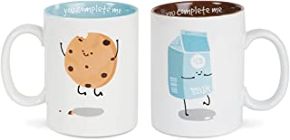 Pavilion Gift Company 74705 Milk & Cookies Complimentary Dishwasher Safe Coffee Mugs, 18 oz, Multicolor