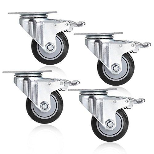 Homdox 4pezzi ruote orientabile Ruote Ruote con freni in gomma