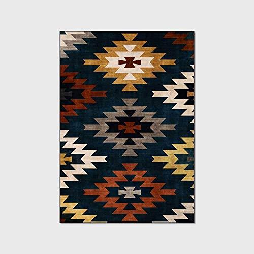 Geometrisch vloerkleed Vintage bohemien Decoratief tapijt Antislip Karpet Waterdicht en antislip Vloermat Babykleed Vloertapijt Yogamat,120x160cm(47x63inch)