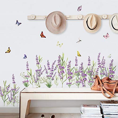 decalmile Pegatinas de Pared Flores de Lavanda Púrpura Vinilos Decorativos Hierba Rodapié Adhesivos Pared Dormitorios Salón Comedor Ventanas