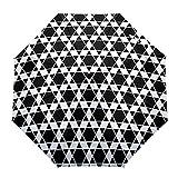 Umberlla Plegable de Viaje, diseño de celosía Hexagonal, Color Blanco y Negro, diseño de celosía Hexagonal, para Exteriores, Abierto/Cerrar, Compacto, Resistente al Viento, para niñas/Mujeres/Adultos