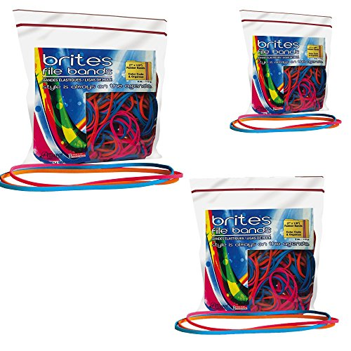 Alliance Rubber 07800 Non-Latex Brites File Bands, Colored Elastic Bands, 150 Pack (7' x 1/8', Assorted Bright Colors in Resealable Bag)