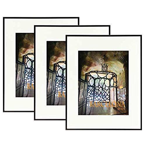 Golden State Art, Aluminum Photo Frame with Ivory Mat, Includes with Sawtooth Hangers and Spring Clips - Wall Mounting - Real Glass - Metal Frame (Black, 16x20 Frame, 3-Pack)
