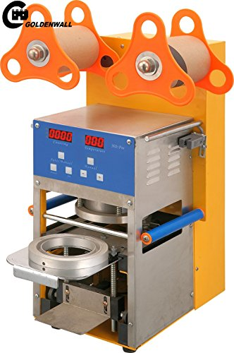 Find Bargain CGOLDENWALL ST-QF08 commercial Stainless Steel Digital full Automatic Cup Sealing Machi...