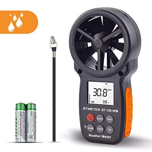 BTMETER Digital Anemometer Barometer Handheld, for Wind Speed Temperature Wind Chill Tester w/Humidity, Altitude, Barometric Pressure Meter for Climbing Drone HVAC CFM BT-100WM