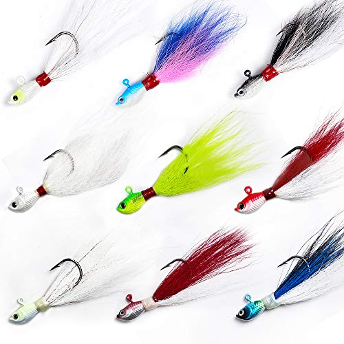 Dr.Fish Lot 3 Bucktail Jig Fluke Lure Saltwater Freshwater Baits Assorted Kit Bass Striper Bluefish Surf Fishing White, Chartreuse, Red 2 oz,