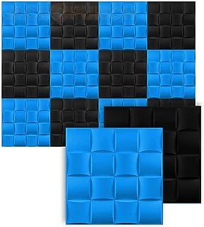 Acepunch New 12 Pieces of Black & Blue 30CM X 30CM 16 Cube Design Textured PVC Waterproof Scratch-resistant 3D Wall Panels...