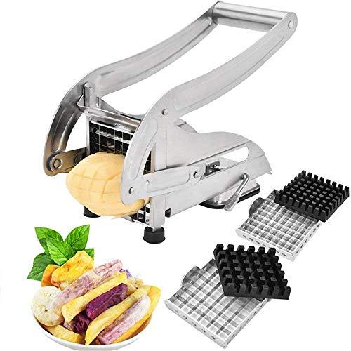 ZLJ果物と野菜のスライサーフレンチフライヤー(2枚刃ステンレスポテトスライサーとさいの目切りのポテトチッパー)
